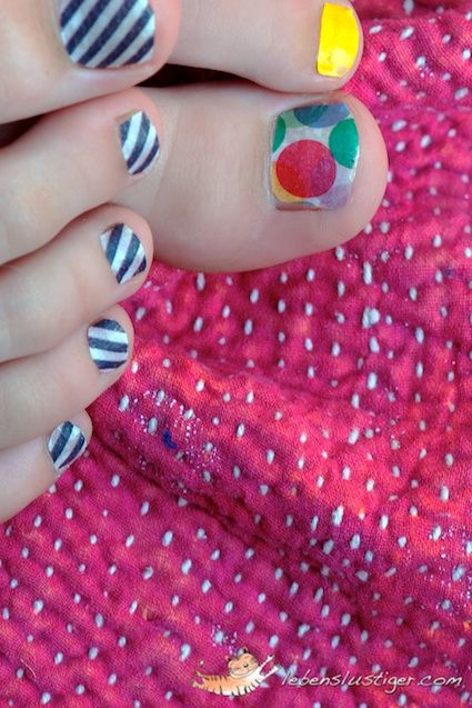 Washi Tape Pedicure  I had so much fun today giving my eight year old daughter a Washi-Tape pedicure, that I had to show you some pictures of it!    They even survived a long holiday walk in the fields and a shower afterwards..