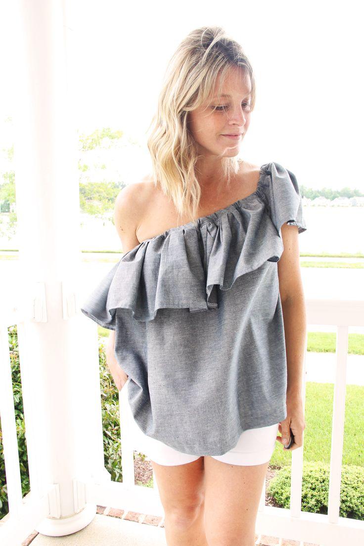 one shoulder ruffle blouse DIY