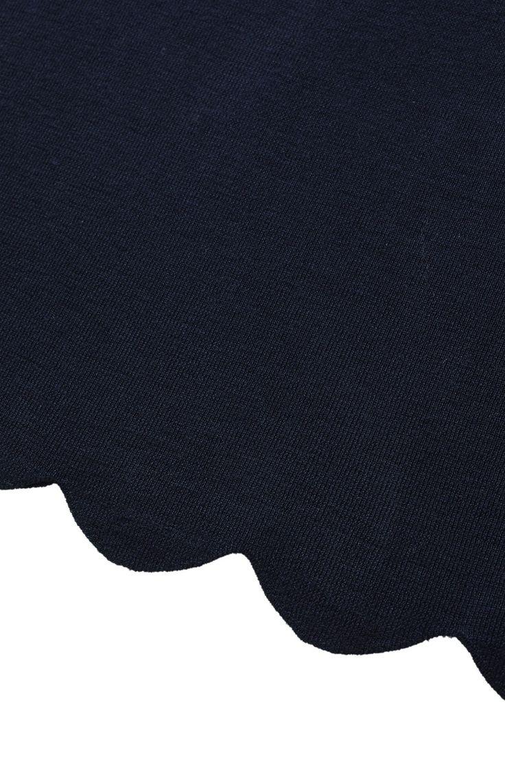 MERINOS WOOL SWEATER WITH SCALLOP CUT HEMLINE - BLUE - | Il Gufo