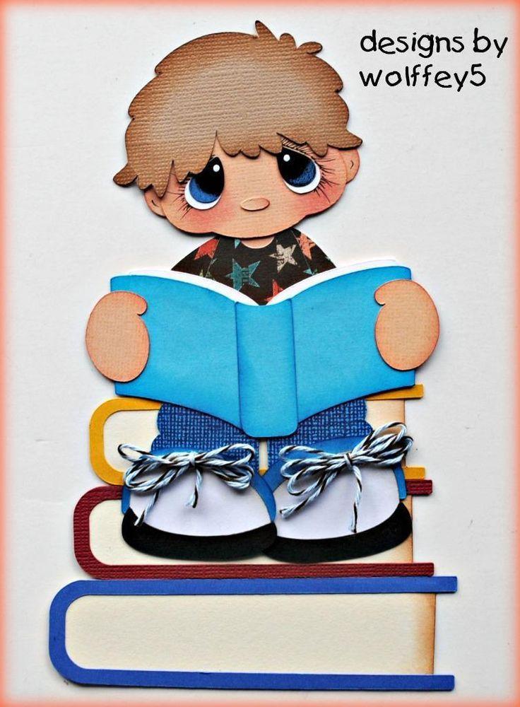 ELITE4U BOY SCHOOL paper piecing premade scrapbook page die cut album WOLFFEY5