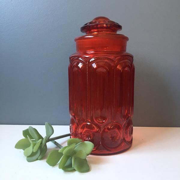 Smith Glass amberina canister - ruby red apothecary jar - 1960s vintage