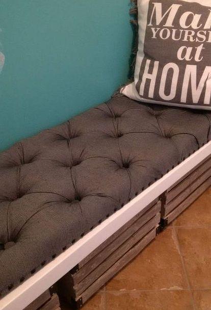 diy tufted bench cushion, reupholster