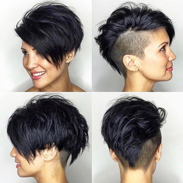 Dark Layered Undercut Pixie Haircut 💇🏻\u200d♀️ By @breannayip