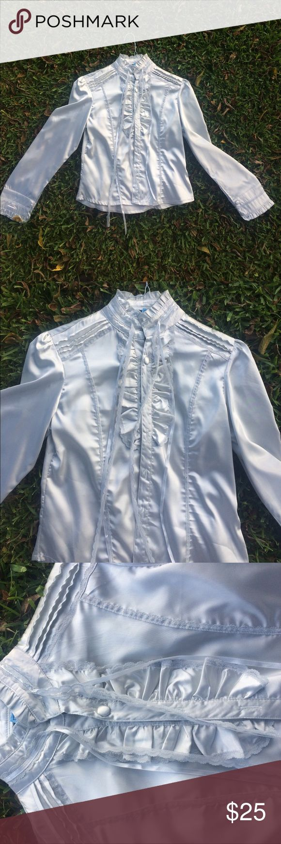Max Nugus Haute Couture blouse silver This is a gorgeous silver blouse and in a size small that is likely silk. Fresh from the cleaners with beautiful detailing Max Nugus Tops Blouses