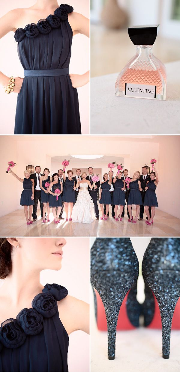 definitely digging the navy for bridesmaids .. with gray or light brown suits for guys... mmmhm.