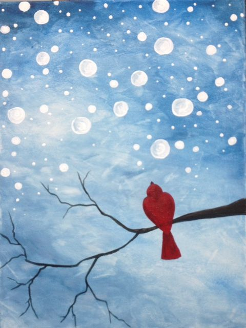 Eat, Sip and Paint yourself happy at the Bistro, Talbot Street, St. Thomas, February 2, 2016 at 7 pm. We will be painting Watching Snow Fall.  Price:  $45   12x16 canvas all materials included (food & beverages not included) Come early for a bite to eat and stay for the most enjoyable social painting class in the City…