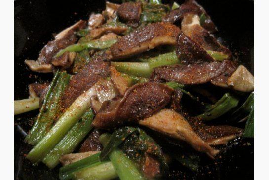 Sauteed shiitake mushrooms and green onions. Harumi Kurihara