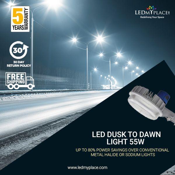 Led Dusk To Dawn Light 55w 5700k With Photocell Dusk To Dawn Led Parking Lot Lights Dusk