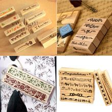 (24 Styles) DIY Scrapbooking Wood Stamps Vintage Wooden Box Rubber Craft Ink Pad…