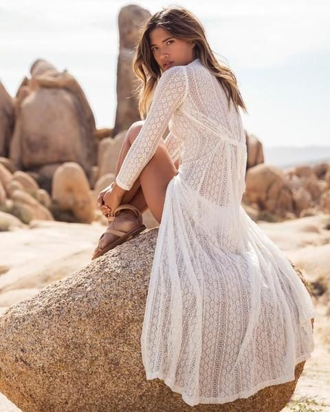 c8df6b4891 Bohemian Beach Holiday Lace Long Dress Cover Ups | Clothes | Dress ...