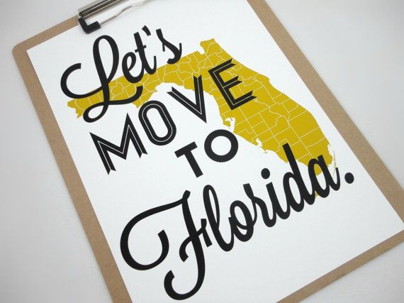 Lets Move to Florida State Map Typography Print A4 size Travel Poster on Etsy, $20.00