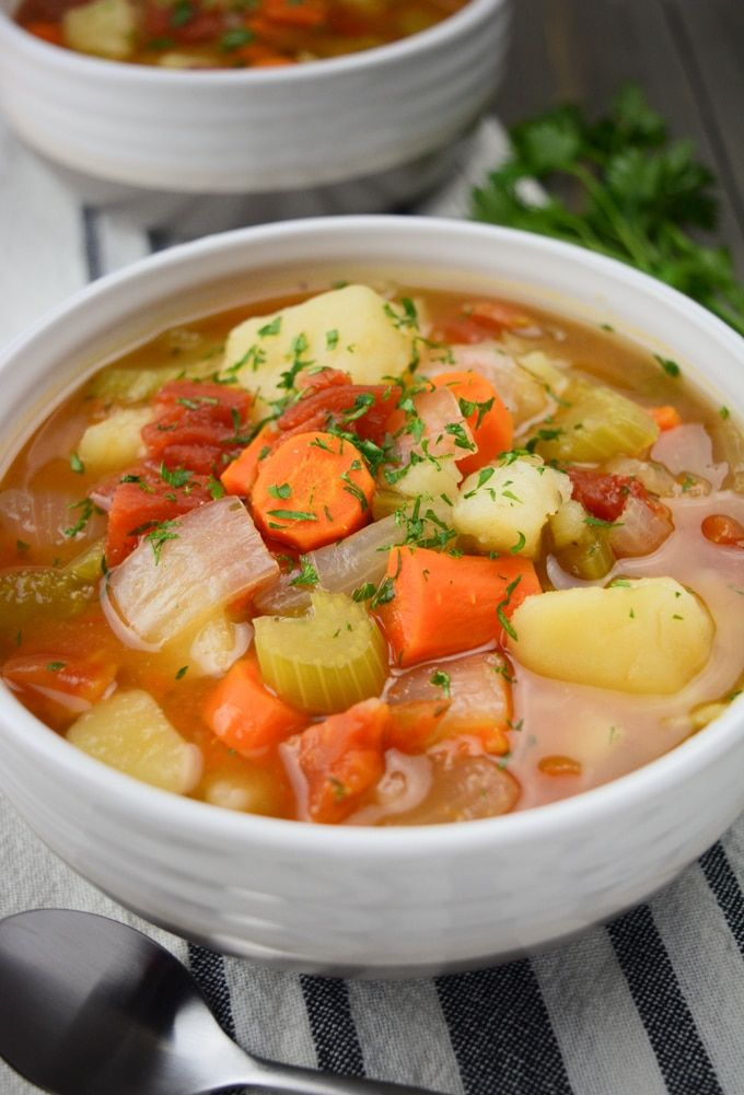 Instant Pot Vegetable Soup Is A Classic Homestyle Recipe Made With Simple Ingredients It S Super Eas In 2020 Vegan Vegetable Soup Vegetable Soup Recipes Soup Recipes