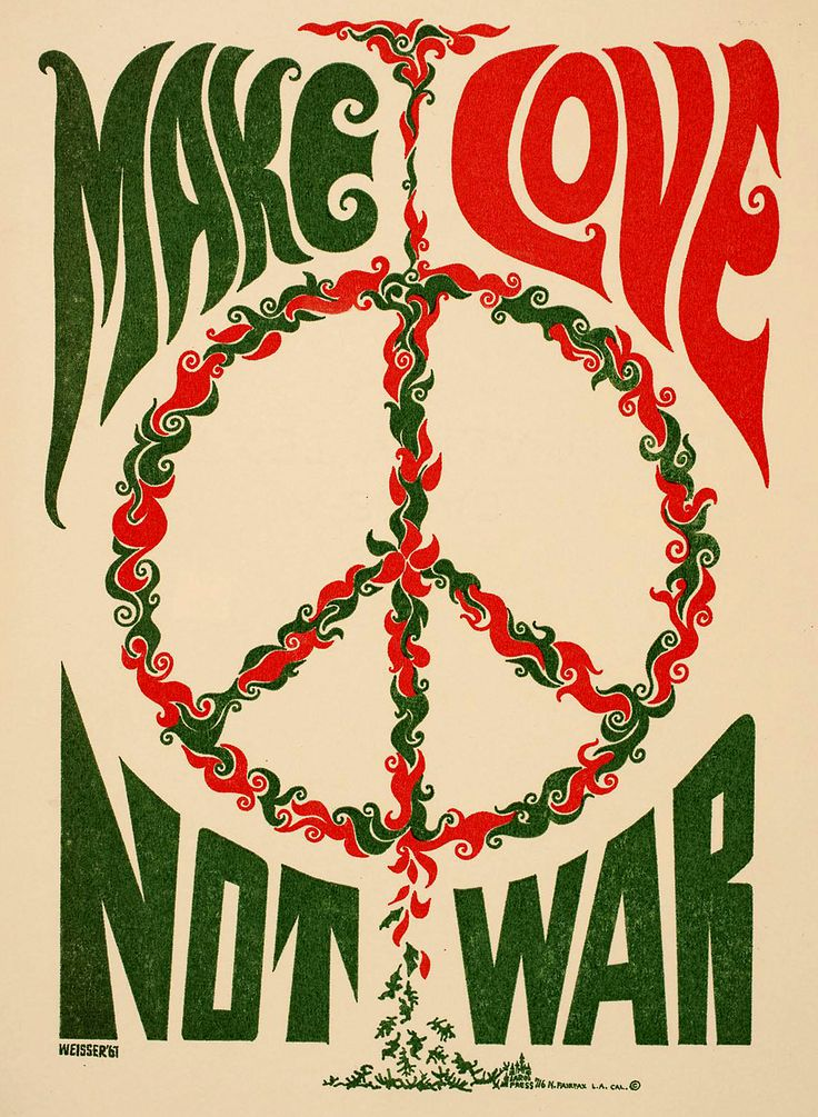 Make Love Not War - vintage Art Poster 1967; Sixties peace sign, flower power