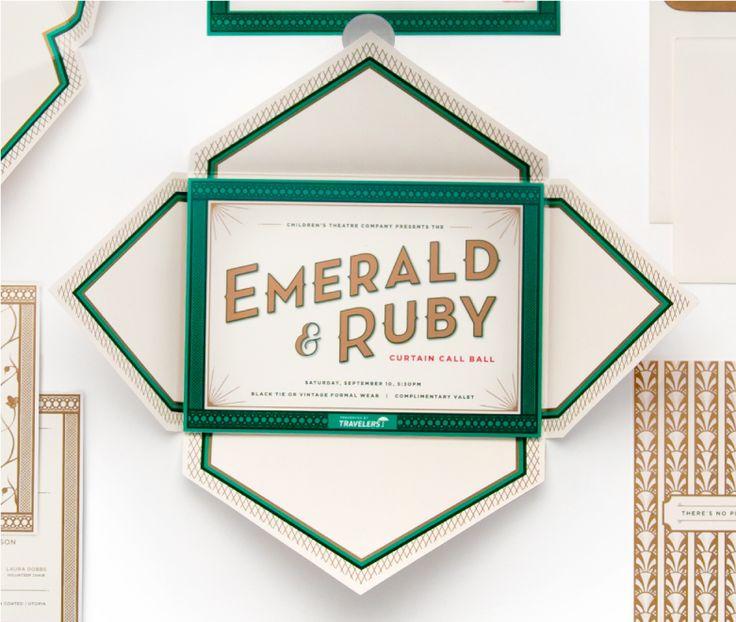 Children's Theatre Co: Emerald & Ruby invitation suite designed by Cue