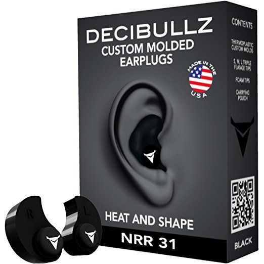 Decibullz - Custom Molded Earplugs, 31dB Highest NRR, Comfortable Hearing Protection for Shooting, Travel, Sleeping, Swimming, Work and Concerts (Black)