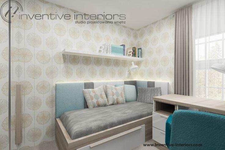 Projekt pokoju dziecięcego Inventive Interiors - przytulny mały pokoik z akcentem beżu i błękitu