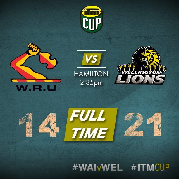 It is full time and the Wellington Lions have defeated Waikato Rugby 21-14 in Hamilton. Well done Lions Keep it going √