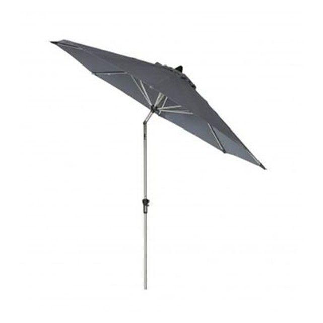 Parasol Inclinable avec Manivelle en Aluminium et Toile Gris-Vert WADIGA : prix, avis & notation, livraison.  Parasol inclinable avec structure en aluminium et toile en polyester résistante de couleur gris/vert. Ce parasol s'ouvre et se ferme à l'aide d'une manivelle située au milieu du pied en aluminium. Dimensions: Haut. 233cm x diam. 270cm Couleur: Gris/vert Matière: Aluminium et Polyester