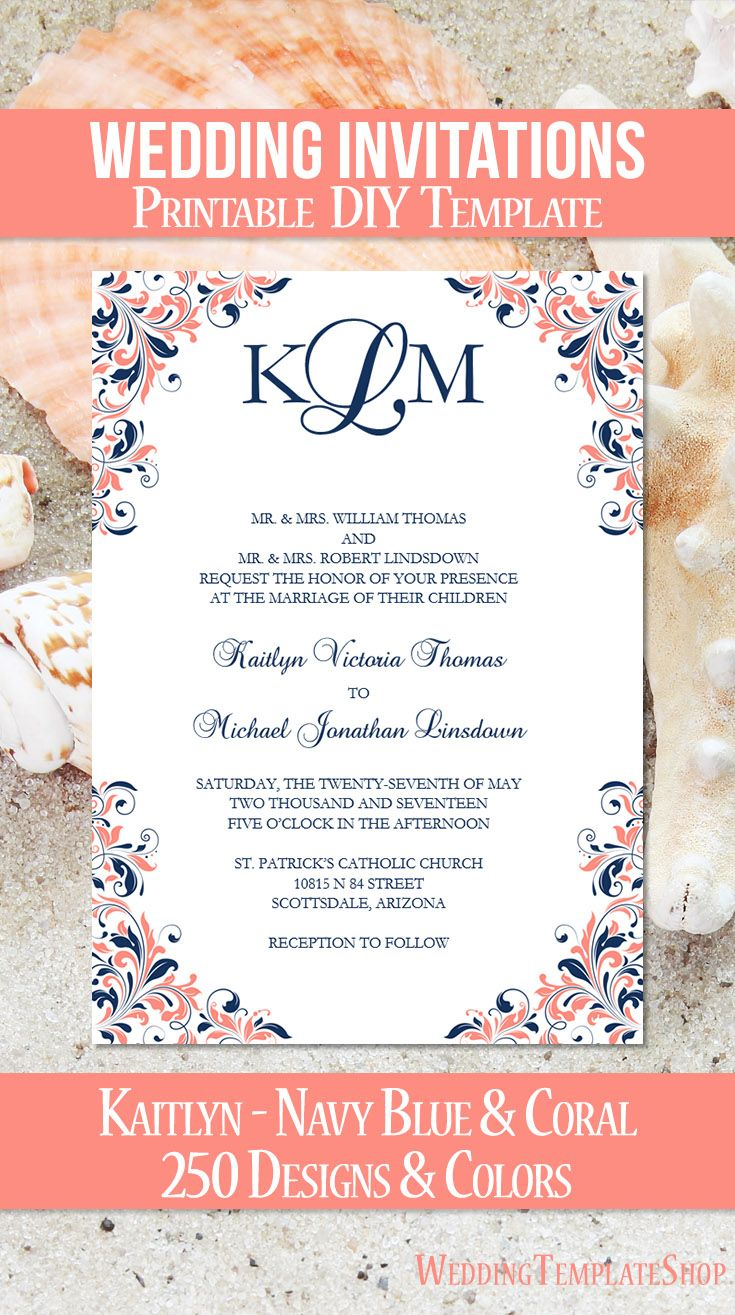 DIY Printable Wedding Invitation Templates shown in the Kaitlyn Design Series in navy blue and coral. All invitation template wording is 100% editable by you within Word. Easy to edit & print.