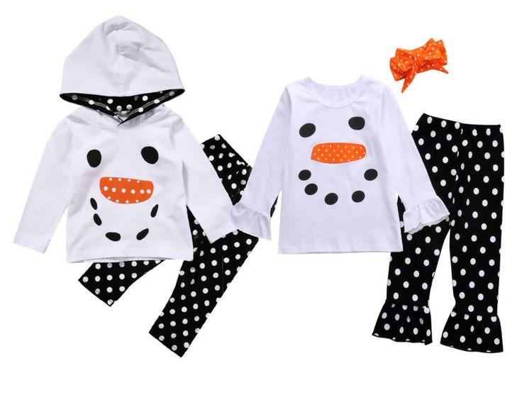 Baby Girls Christmas Snowman Polka Dot Hoodies Tops Ruffle Pants Pajamas Clothes #Unbranded #ChristmasHoliday
