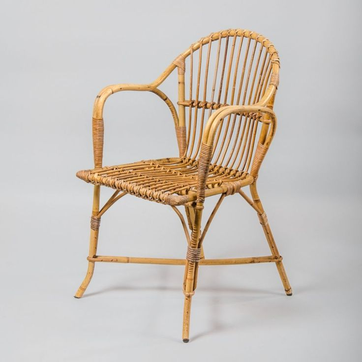 For sale: Vintage French Rattan & Wicker Armchair, 1970s # ...
