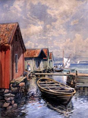 Anna Gardell Ericson (1853-1939): Vid fiskebodarna, akvarell,