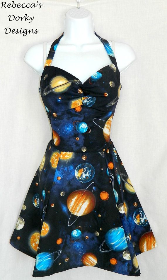 Outer space galaxy planet dress. by RebeccasDorkyDesigns on Etsy