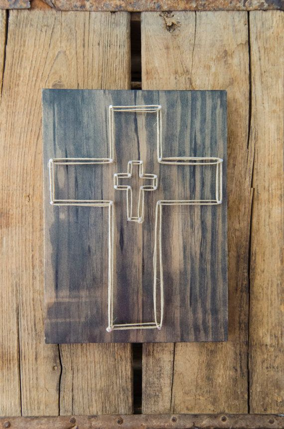 Pasen kruis String kunst hout Decor religieuze kunst Decor