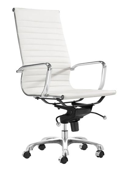 ALUMINUM / BICAST LEATHER HIGH BACK OFFICE CHAIR
