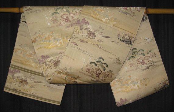 "Vintage Japanese Silk Maru Obi Belt for Kimonos Display ""Little House"" on Etsy, $220.00"