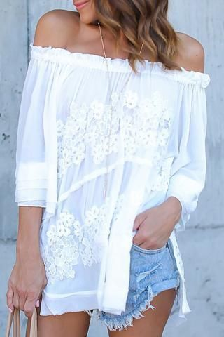 Poppoly Transparent Out Of Shoulder Lace Patchwork White Shirts gypsy #boho