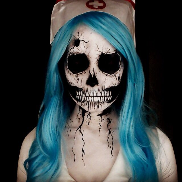 Nightmare nurse makeup. Scary Halloween makeup ideas. Inspired by Stephen Gammell's Art in Scary Stories to Tell in the Dark.