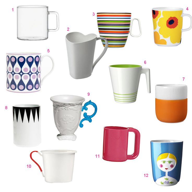 Coffee and tea drinkers, listen up! We rounded up 12 modern mugs, including designs by Jonathan Adler, CB2, Alessi, IKEA, iitala, and Massimo Vignelli.