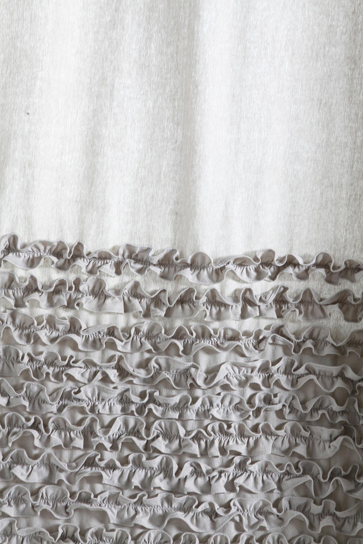 80 quot x72 quot shabby rustic chic burlap shower curtain ivory lace ruffles - Detail Bloomer Ruffle Shower Curtain