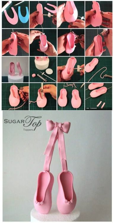 Gum paste ballet slippers. This could easily be made with polymer clay.