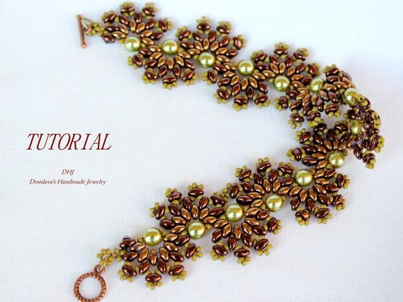 PDF Tutorial superduo bracelet Terra gold green bronze color