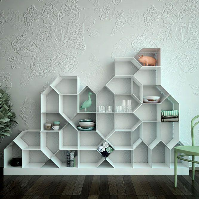Bibliothèque modulable Citybook / Design Antonella Di Luca &Ubaldo Righi pour Mr.Less & Mrs.More / Yooko