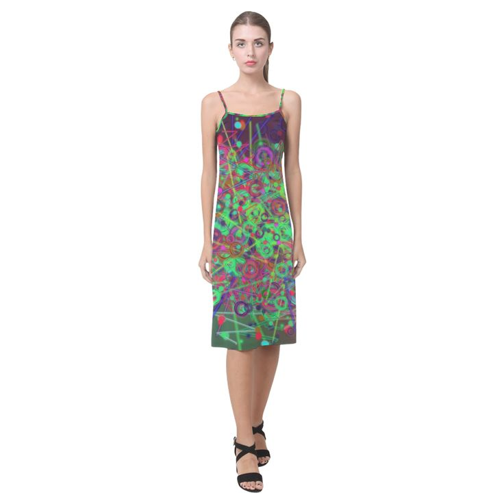 Exploding Disco Lights and Colours Alcestis Slip Dress (Model D05)