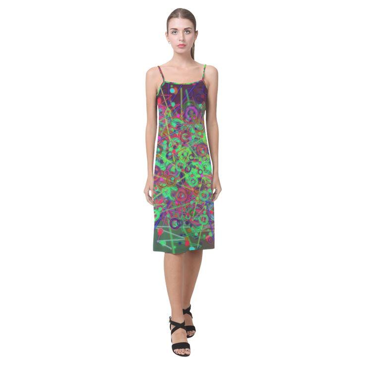 Exploding Disco Lights and Colours Alcestis Slip Dress (Model D05)