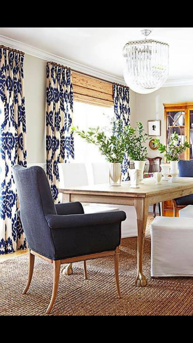 Bold Ikat Curtains With Bamboo Shades
