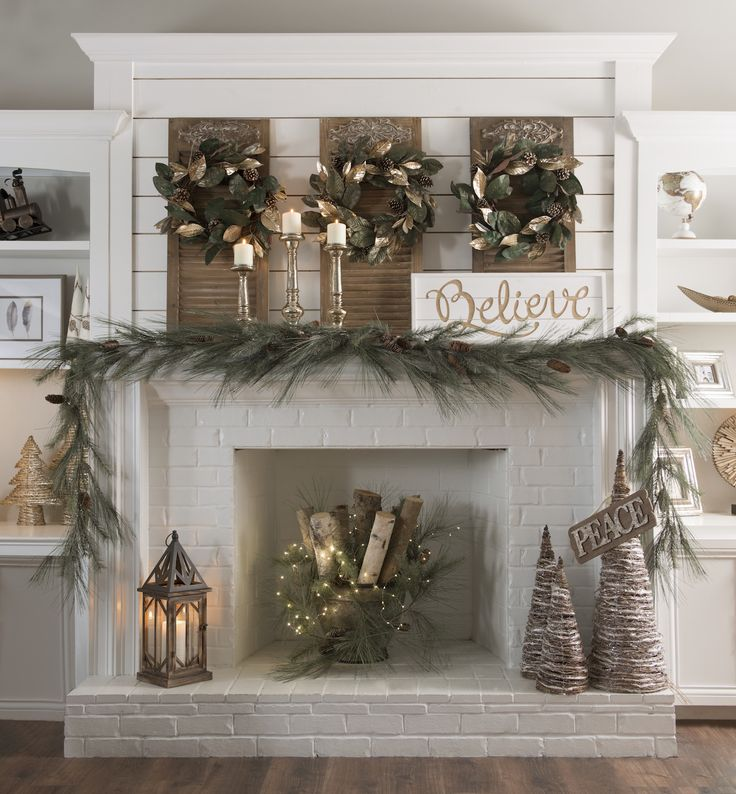White Fireplace Find all of the decorating resources you need to make your  living space a holiday haven when you shop Kirkland's 'Woodland Wonder' ...