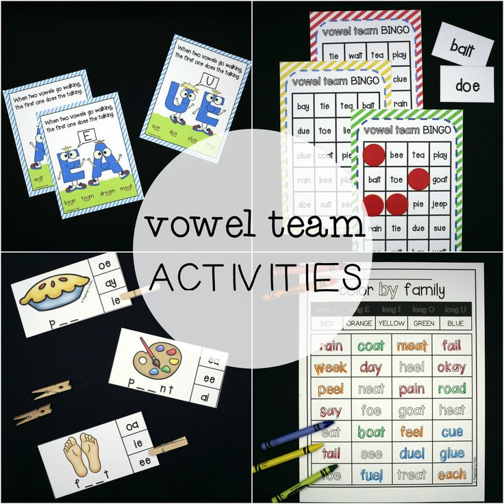 Our vowel team activity bundleis packed with motivating games and eye-catching posters teachingkids nine of the most common vowel teams:-ie, -ee, ue, -ae, -oa, oe, -ui, -ay, -ai.  Check out all the fun details below.  NOTE: All of our products are instant downloads.
