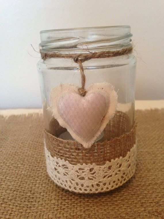 Glass tea light holders, hearts, lace, hessian, bunting, felt, valentines