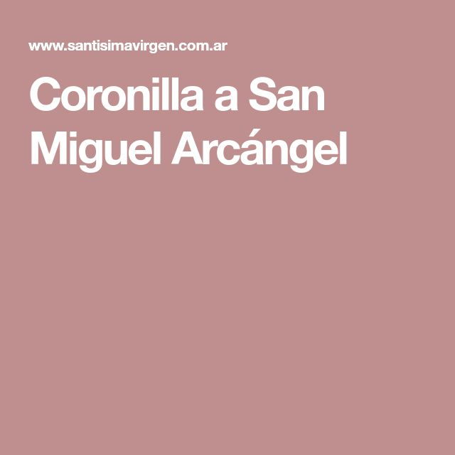 Coronilla a San Miguel Arcángel
