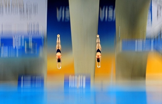 London, UK Mexico's Paola Espinosa and Alejandra Orozco in the women's synchronised 10-metre platform final during the 18th FINA Visa Diving World Cup at the Aquatics Centre in the Olympic Park