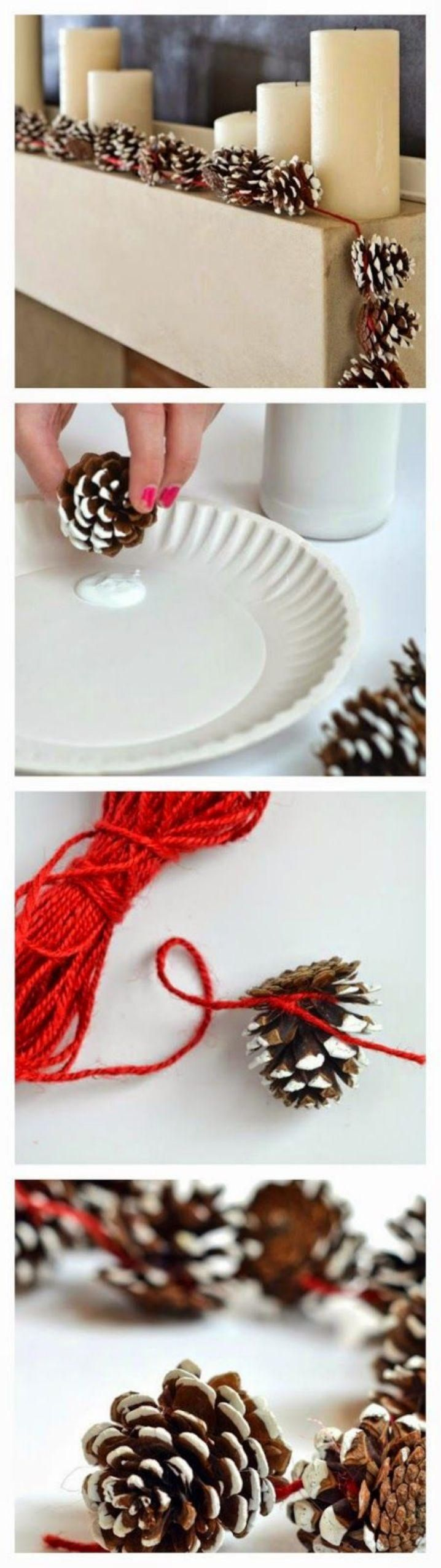 Pinecone Garland - wrap it around our poinsettia Yule lights.  Maybe add green burlap scraps as well?