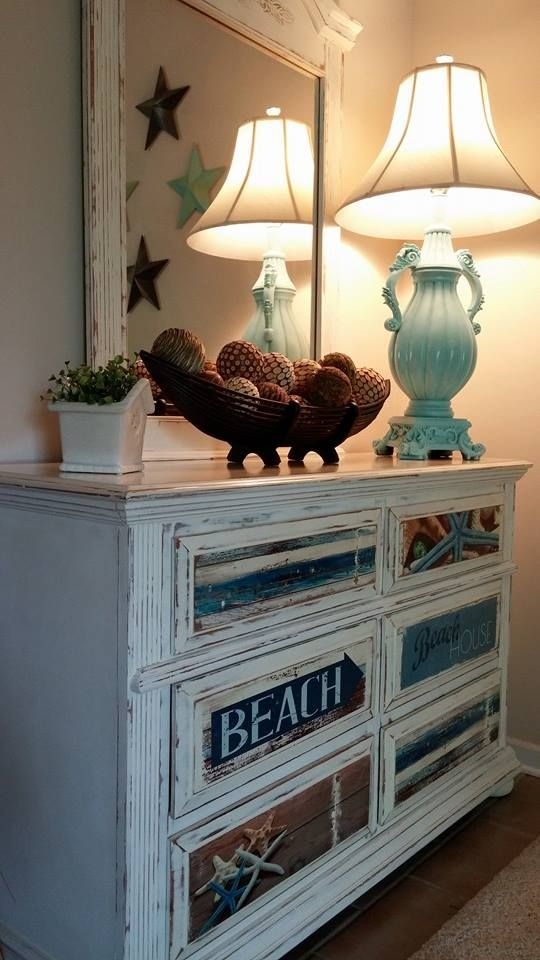 A beach style dresser finished in Old White Chalk Paint® decorative paint by Annie Sloan | By Beachy Keen https://facebook.com/beachykeenbiloxi?_rdr