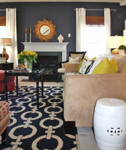 Navy Family Room eclectic family room. Accents for Navy blue rug. Yellow/ Orange/Red. Grey