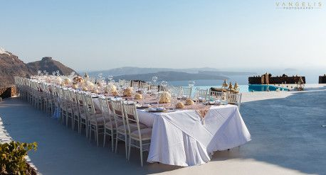 Wedding of Francesca & Alberto - Santorini, Aenaon Villas, 27th August 2015  Wedding reception at Aenaon Villas in Santorini  Color palette: blush, light pink, white  Flower design & decoration by Fabio Zardi  Photo © Vangelis Photography  Flower list:   Rosa Amnesia Rosa gr Memory Lane Rosa gr Menta Rosa tr Cream Gracia Rosa gr Vendela  Rosa Avalanche+ Rosa tr White Lady Dianthus st Lady Diana  Phalaenopsis Sensation White  White tros dianthus Rosa Akito
