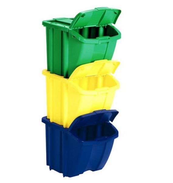 Suncast Recycle Bins Trash Garbage Waste Containers Stacking Storage Set of 3 #Suncast